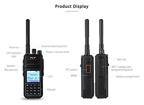 Joyhero TYT Tytera MD-380 DMR Digital Radio,400-480UHF, Up to 1000 Channels, with Color LCD Display, Programming Cable and 2 Antenna (High Gain Antenna in cluded), Black ¡ by TYT (Image #1)