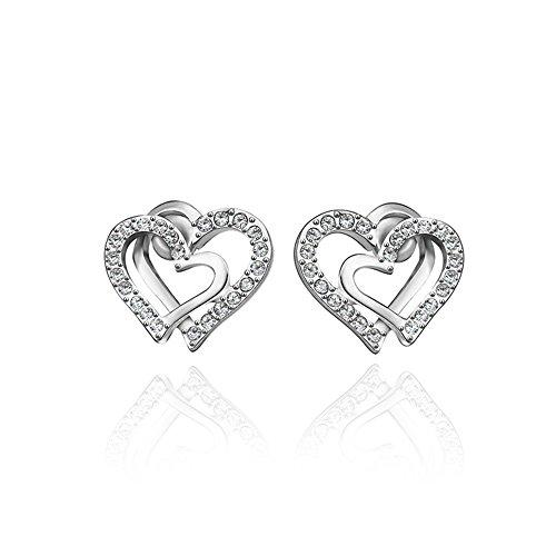 Heart Stud Earrings Sterling Silver Earrings Cubic Zirconia Earrings Stud Open Heart Small Stud Earrings for Women Girls