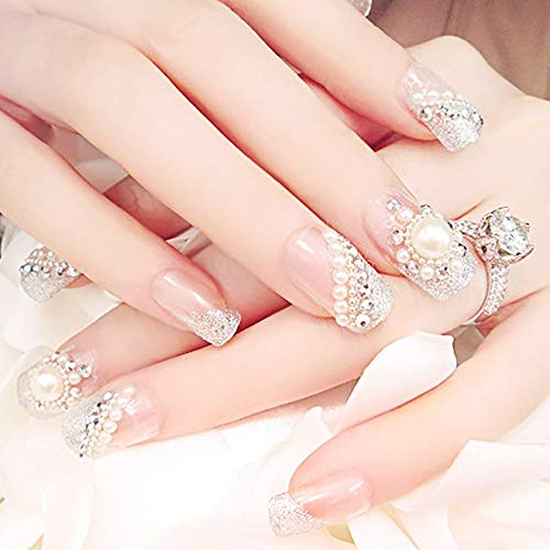 Drecode False Nails Bling Rhinestone Sun Bead Fake Nails Wedding Birday Party Acrylic Nails for Women and Girls