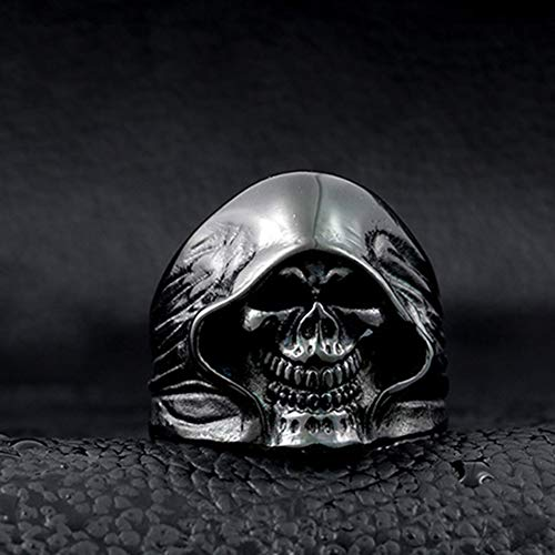 SAINTHERO Men's Large Vintage Biker Gothic Casted Death Grim Reaper Skull Stainless Steel Punk Ring Black Size 7 by MENSO (Image #2)