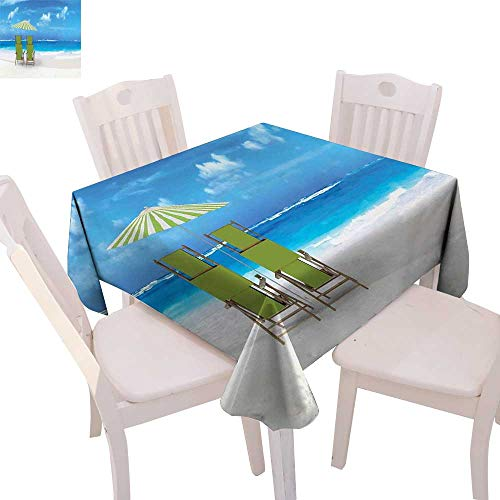 cobeDecor Seaside Stain Resistant Wrinkle Tablecloth Sunshade Drinks Pair of Reclining Chairs Facing to Ocean Seascape Square Wrinkle Resistant Tablecloth 36