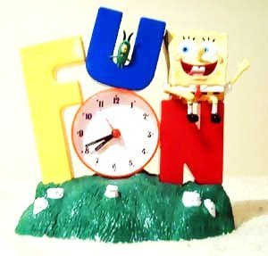 Rare Spongebob Squarepants Alarm Clock 2002 Edition Grass Base FUN SONG EditionBob Sitting on the Letter N