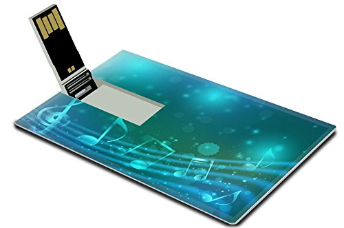 Luxlady 32GB USB Flash Drive 2.0 Memory Stick Credit Card Size Blue background with abstract musical notation IMAGE 26016816