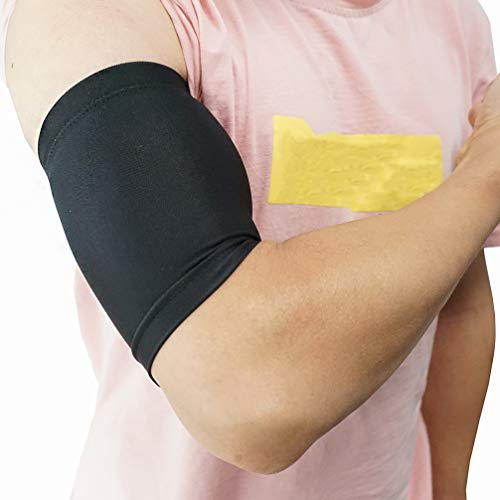 Luwint Compression Upper Arm Sleeve - Biceps/Triceps Tendon Brace Support for Workouts, Cycling, Running, Basketball, Volleyball, 1 Pair (L)