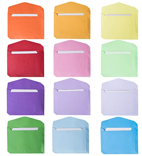 - 120 Sets Mini Envelopes, Gift Card Envelopes in 12 Colors with White Blank Business Note Cards, Small Gift Card Tiny Envelopes, Colored Pocket Envelopes - 4.5