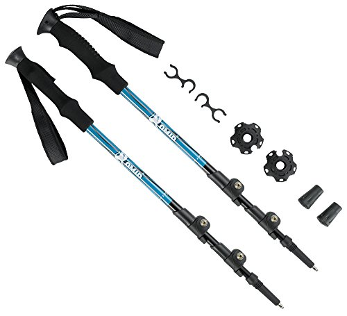 OMID Trekking Poles - 2 Pack Quick Locking System Collapsible Lightweight Pole with Tungsten Steel Pole Tips for Hiking & Trekking by OMID