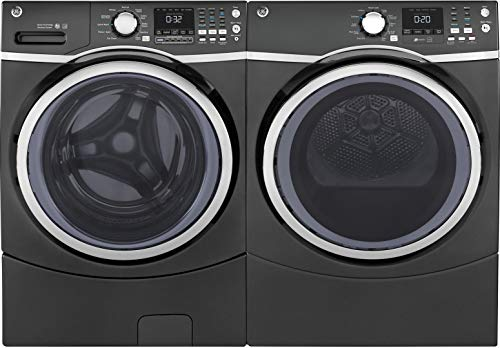 """GE Front Load Steam GFW450SPMDG 27″"""" Washer with GFD45ESPMDG 27″"""" Electric Dryer Laundry Pair in Gray"""
