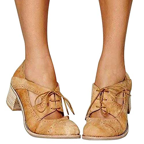 (Blivener Womens Chunky Heel Oxfords Lace Up Cut Out Pumps Shoes Heel Sandals SUEDEBROWN40)
