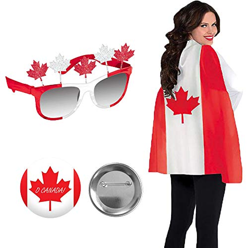 Red and White Maple Leaf Canada Day Wearables Party Pack With Canadian Flag Cape, Maple Leaf Glasses, and Exclusive O Canada Pin By Another Dream (Canada Maple Leaf Flag)