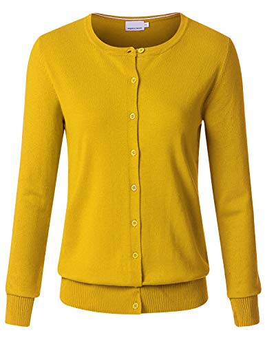 Snowflake Knit Top - JSCEND Women's Long Sleeve Button Down Crew Neck Soft Knit Cardigan Sweater Mustard L