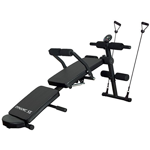 DYNAMIC SE Sit Up Bench Adjustable with Waist Back Support Head Cushion and LCD Monitor Decline Bench Press Weight Bench for Full Body Workout