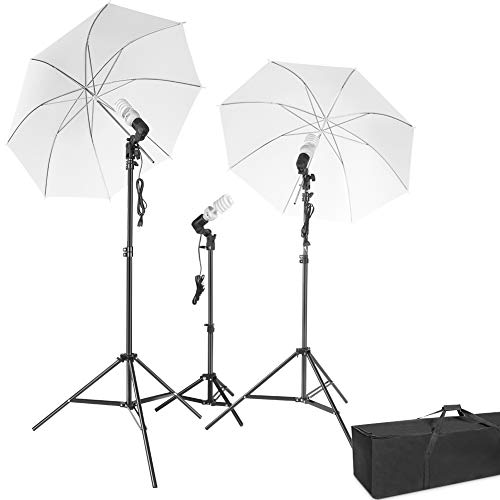 Photography Lighting - ESDDI Umbrella Continuous Lights Kit 600W 5500K Portable Day Light Photo Portrait Studio Video Equipment