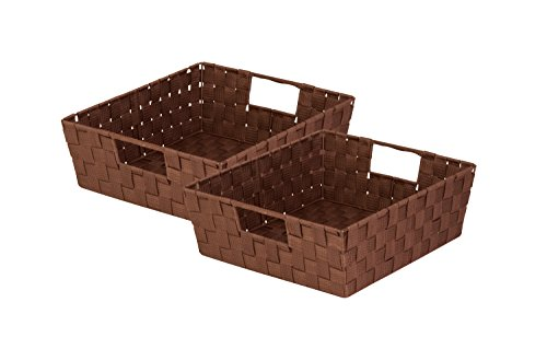 Honey-Can-Do 2 Piece Woven Tray, Chocolate
