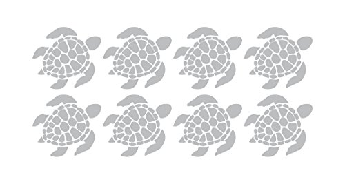 (8 Sea Turtles - Coastal Design Series - Etched Decal - For Shower Doors, Glass Doors and Windows - Each turtle decal is 5.5