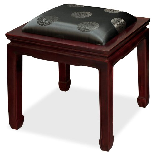 Rosewood Furniture China (China Furniture Online Rosewood Bench, Hand Crafted 18 Inches Horse Shoe Bench with Black Longevity Motif Cushion in Dark Cherry Finish)