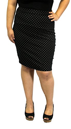 Black Rockabilly greaser 50s Vintage Skirt Pin Up Plus Size Fitted Work Solid (2X, POLKA DOT) (Greaser Attire)