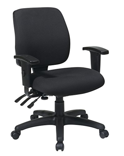 Office Star Mid Back Dual Function Ergonomic Chair with Ratchet Back Height Adjustment with 2-way Adjustable Arms, Black by Office Star