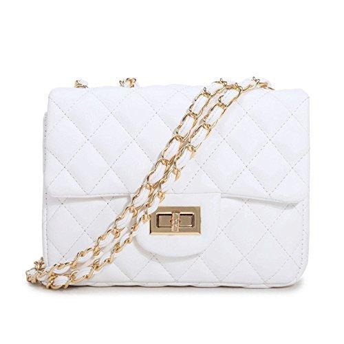 Bolso De La Cadena De Lingge De Las Mujeres Summer Crossbody Mini Pequeña PU Hombro De La Cerradura De La Hebilla Messenger Bag Office Handbag White