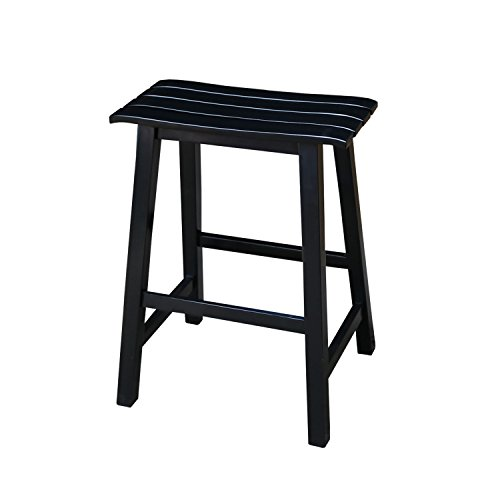 International Concepts Slat Seat Stool, 24-Inch Seat Height, Black (International Concepts Saddle)