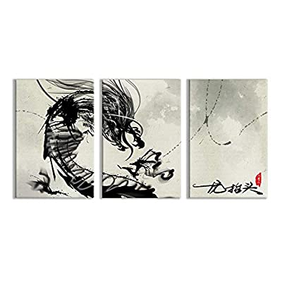 3 Plane Canvas Wall Art - East Dragon Ink Painting Office Poster - Modern Home Art Stretched and Framed Ready to Hang - 16