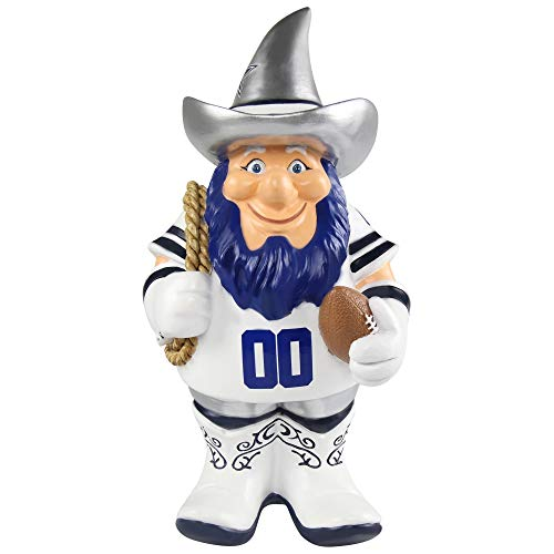(Dallas Cowboys NFL Garden Gnome 10.5 in, Outdoor Garden Statue with Hat White Color Lawn Figure Decoration Mini Figurine with Football Team Logo for Fan Team Spirit, Resin)