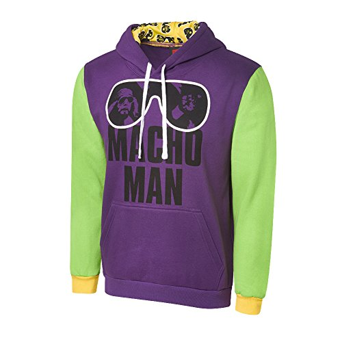 WWE Macho Man Randy Savage Ohhh yeahh Varsity Hoodie Green/Purple Large by WWE Authentic Wear