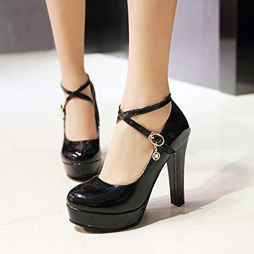 Alto Tacón Beiamina Plateforme Zapatos Mujer Moda Negro Pumps OnORqHw