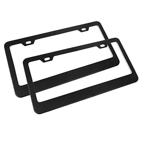 X AUTOHAUX 2 Pcs Aluminum Alloy 2 Hole License Plate Frame Holder w/Screw Caps - Black (Frame Contour Aluminum)