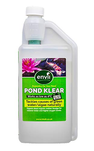 Envii Pond Klear - Algicide Pour Bassin Utilisant Des Bactéries Pour Éliminer L'eau Verte et Les Algues, Sans Risque Pour Les Poissons, Ni Les Animaux Domestiques - 1 Litre Bio8
