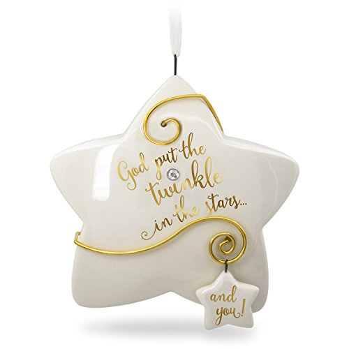 Hallmark Keepsake Christmas Ornament 2018 Year Dated Godchild Baptism You Shine Twinkle Star (Porcelain Star Ornament)