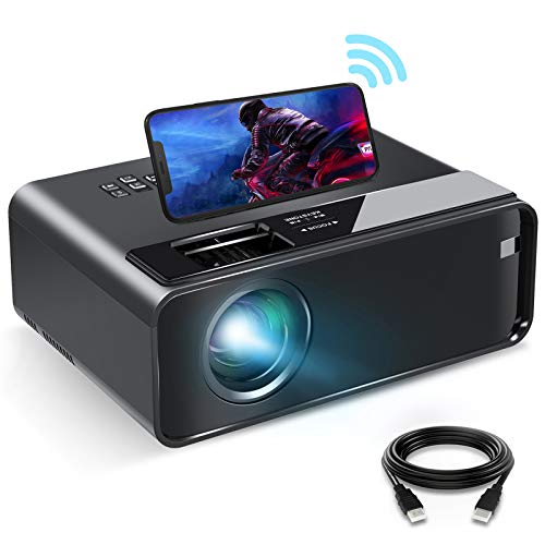 """Mini Projector for iPhone, ELEPHAS 2020 WiFi Movie Projector with Synchronize Smartphone Screen, 1080P HD Portable Projector Supported 200"""" Screen, Compatible with Android/iOS/HDMI/USB/SD/VGA"""