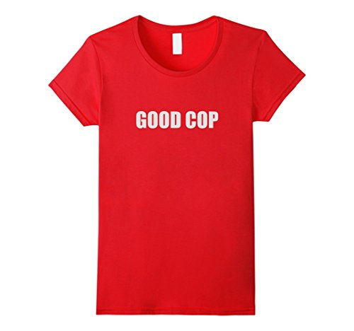 Womens Good Cop Funny Couple Outfit (Bad Cop / Good Cop). Medium Red -