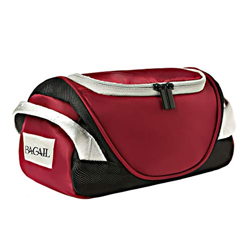 BAGAIL Portable Hanging Travel Toiletry Organizer Bathroom Cosmetics Dopp Kit for Women and Men Burgundy