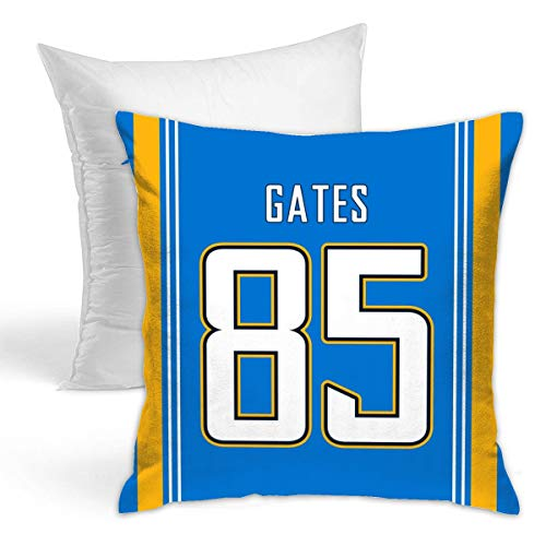 Johmsee Personalized Custom Football Decorative Throw Pillow 18 X 18 Pillow Inserts Jersey Style Throw Pillow Case (Blue, 85_Antonio_Gates)