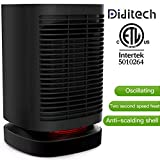 Diditech Potable Small Space Heater Rotatable Electric Ceramics 800/950W Personal Desk Fan with Oscillation, ETL Approved with Overheat and Tilt Protection Perfect for Home Indoor Office