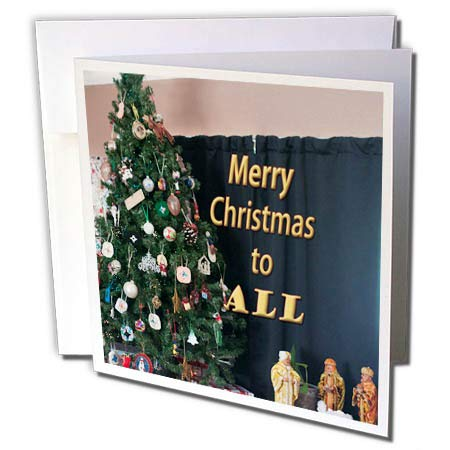 (3dRose Jos Fauxtographee- Merry Christmas to All - Merry Christmas to All with a Tree and Three Wisemen - 1 Greeting Card with Envelope (gc_293363_5))
