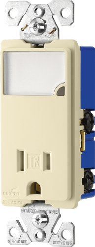 Eaton TR7735A 3-Wire Receptacle Combo Nightlight with Tamper Resistant 2-Pole, Almond