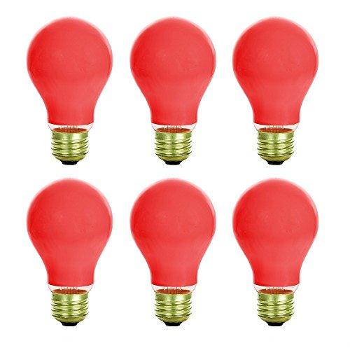 6 Qty. Halco 25W A19 Red Ceramic 130V 2M HA A19RED25C 25w 130v Incandescent Ceramic Red Lamp Bulb