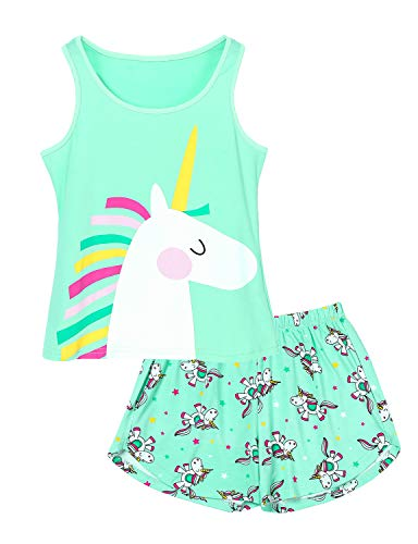 Big Girls Unicorn Pajama - Size 14 Tank Top & Shorts Set Cotton Kids Clothes for Tween Mint Green]()