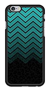 Dark Green Chevron Zig Zag Snap-On Cover Hard Plastic Case for iPhone 6 (Black) by lolosakes