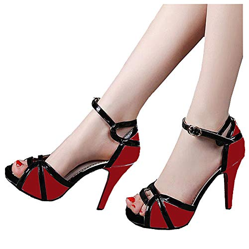 (getmorebeauty Women's Vintage Red and Black Peep Toes Dress Shoes High Heels Ladies Open Toe Party Pumps Buckle Sandals 7 B(M) US)