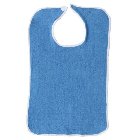 Adult Bib or Clothing Protector Reusable Washable Extra Long 18x36 Royal Blue with Velcro Closure (Pack of 12)