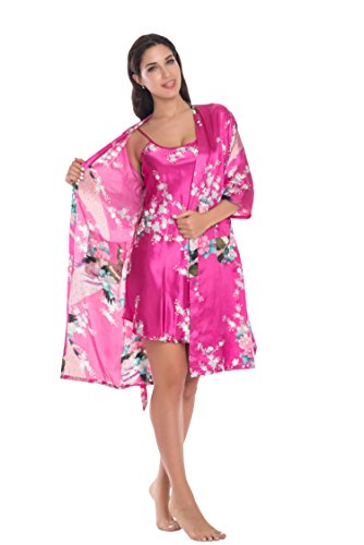 (Joy Bridalc Women's Kimono Robe Gorgeous Loungewear 2PC Set Sleepwear Camisole & Robe, Rose S)