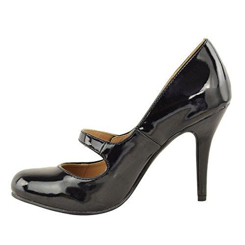 Mujer De Saln Negro Medio Tobillo Zapatillas En Talla Sandalias Bajo Tira Tacn Patente Zapatos Trabajo 08qw0A