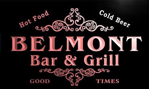 Belmont Light Bar (u03117-r BELMONT Family Name Bar & Grill Cold Beer Neon Light Sign)