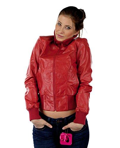 Damen Lederjacke Echtleder Outdoorjacke Collegejacke Vero Moda 2159 Rot