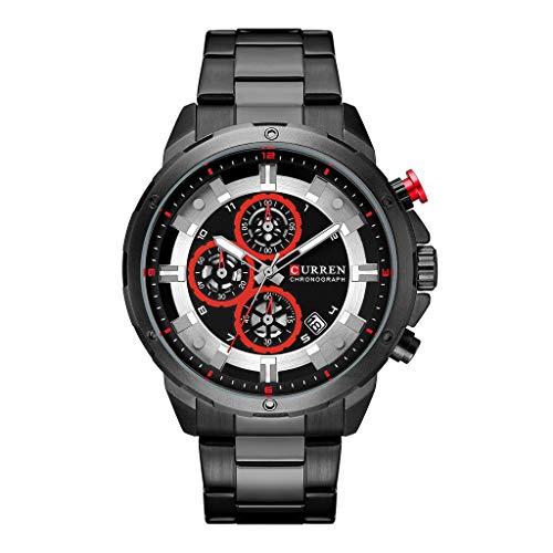(LUCAMORE Men Stainless Steel Strap Watches Men's Chronograph Waterproof Sport Date Quartz Mechanical Wrist Watch on Sale)