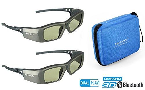 "2x Hi-SHOCK ""Oxid Diamond"" | Dual Play RF/BT Pro 3D glasses for HDR / FullHD / 4k 3DTV, RF 3D projectors comp. with SSG-3570CR / TDG-BT500A / AN3DG35 / TY-ER3D6ME / FPT-AG04 / AG-S350 / FPS3D08"