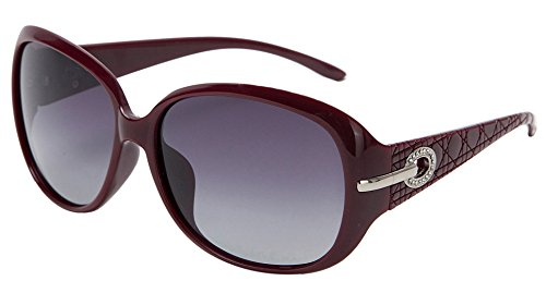 women fashion and Classic polarized sunglasses with UV400 len PROTECTION (Bordeaux, - Sunglasses 60