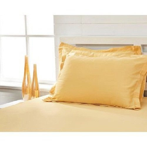 600 Thread Count 100% Egyptian Cotton 1-Piece Fitted Sheet + 2 piece Pillowcases with 21-25 inches Extra Fit Deep Pocket Both Pattern Solid/Stripe (Olympic Queen , Solid , Gold).